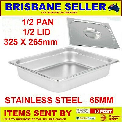 1/2 Gn Pans Bain Marie Stainless Steel 65Mm With Lid  ** See Delivery Area First
