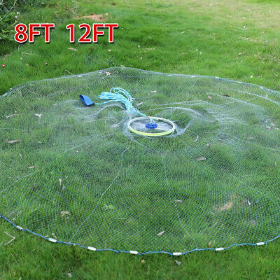 8ft 12ft Fishing Cast Net Quick Throw Nylon Mesh Drawstring Chain Bottom Spread