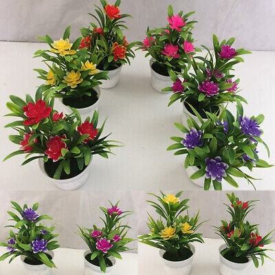 UK Realistic Artificial Flowers Plant in Pot Outdoor Home Office Decoration Gift