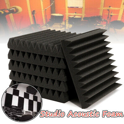 6/12/24pcs Soundproofing Acoustic Wedge Studio Foam Tiles Wall Panels