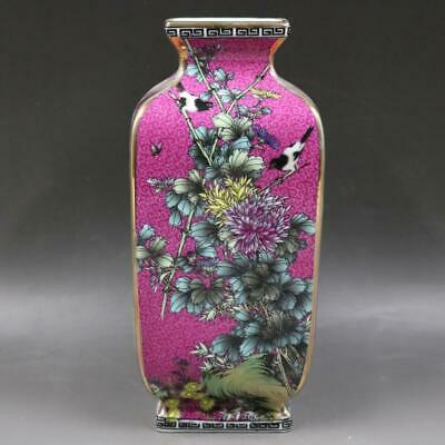 Chinese ancient antique hand make Flower and bird vase s146