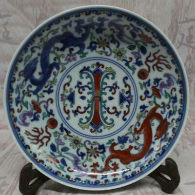 Chinese ancient antique hand make Blue and white Dragon pattern plate s157