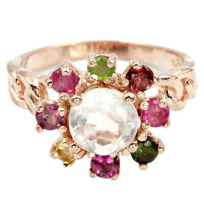 Natural Aaa Rose Quartz & Multi Color Tourmaline Sterling 925 Silver Ring 7.5