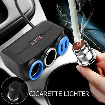 2 Way Socket Splitter Car Cigarette Lighter Charger Adapter 12V Dual USB Black