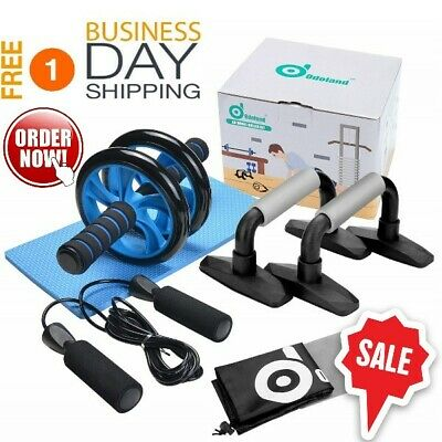 Dual Gym Ab Wheel Roller With Knee Mat And Push Up Bar For Home Gym + Jump Rope