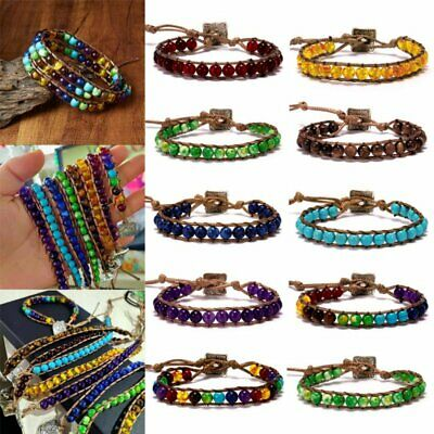 7 Chakra Natural Stone Tube Bead Bracelet Handmade Braided Rope Yoga Bangle NEW