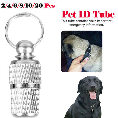 Dog Cat Pet Tag ID Collar Tags Address Label Barrel Tube For Small Large Pet