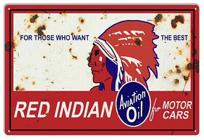 Red Indian Gasoline Reproduction Vintage Motor Oil Metal Sign 12x18