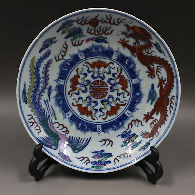 Chinese ancient antique hand make Dragon-phoenix pattern plate