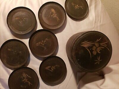 Nice Lot Of 7 Antique Asian Carved Wooden Coasters, hand carved, beautiful wood
