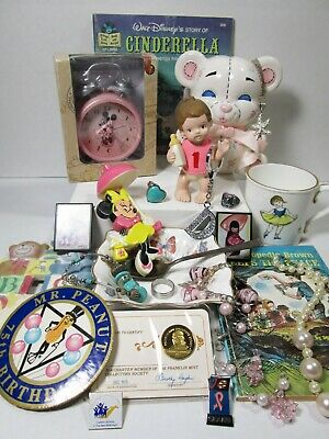 Junk Drawer Lot Eclectic Collectibles Disney Jewelry 24KT On Sterling Medal Vtg