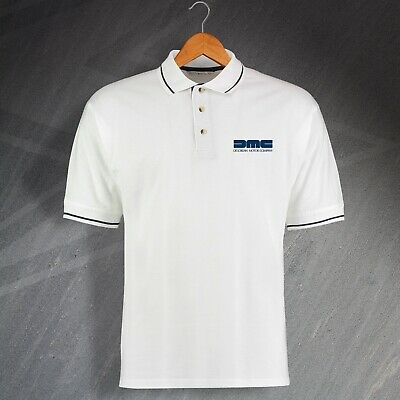 DeLorean Motor Company Polo Shirt Embroidered White Navy Size 2XL