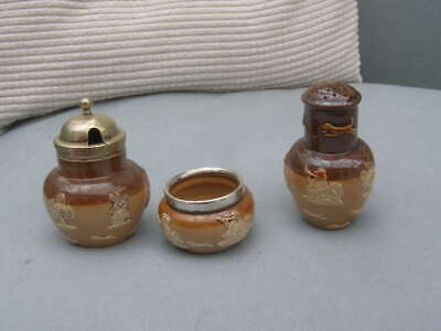 3 Antique Doulton Lambeth Cruet  Set alt pot Pepper & Mustard Glazed Table ware