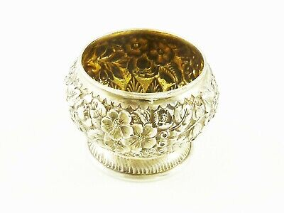Antique Sterling Silver  & Gilt Salt Cellar By Tiffany & Co  Floral Repousse