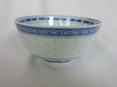 Chinese Rice Eyes Translucent Bowl Porcelain Small Blue White Trinket Dragon Cup
