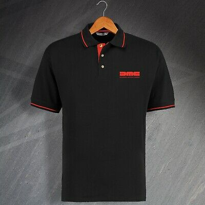 DeLorean Motor Company Polo Shirt Embroidered Black Red Size 2XL