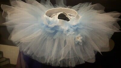 Girls/Toddler blue and white handmade floral tutu age 2 years