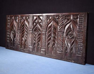 *17th Century Antique French Highly Carved Gothic Panel in Oak Wood Salvage
