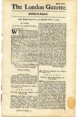 RARE EARLY 18th Century 271 Years Old LONDON GAZETTE England 1747 Newspaper