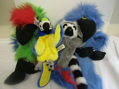 Hand Puppet Bundle Parrots & A Racoon Animal Park Zoo Animals