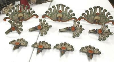 Antique Vintage Cast Iron Painted Curtain Tie Backs Holders Finials 11 Pieces