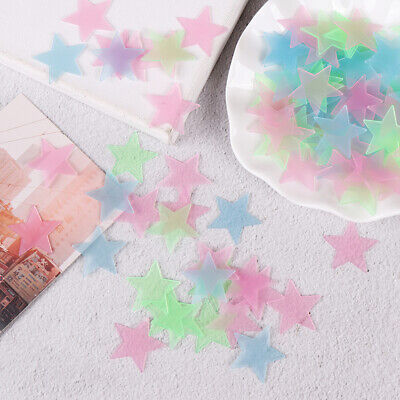 100Pcs 3D stars glow in dark luminous fluorescent plastic wall sticker homeI CHF