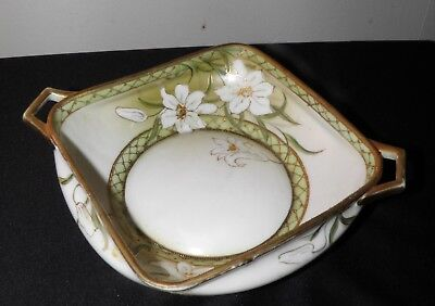 """Antique Nippon Noritake Bowl Hand Painted Lilies Flowers Moriage Square 8"""" x 7"""""""