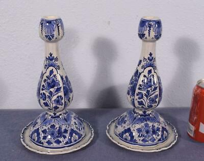 Antique Porceleyne Fles Delft Candlesticks Tin Glazed Faience Dated 1951