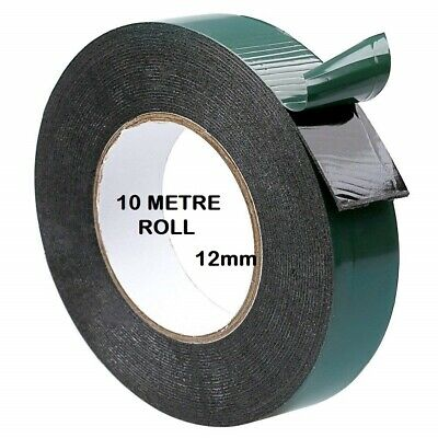 Double Sided Foam Tape 12mm x 10M Black Super Strong Permanent Self Adhesive