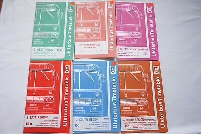 1981 Ulsterbus Bus Timetable x6 Belfast Newry Omagh Armagh Coleraine Larne