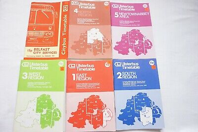 1983 Ulsterbus Bus Timetable x6 Belfast Newry Omagh Armagh Coleraine Larne
