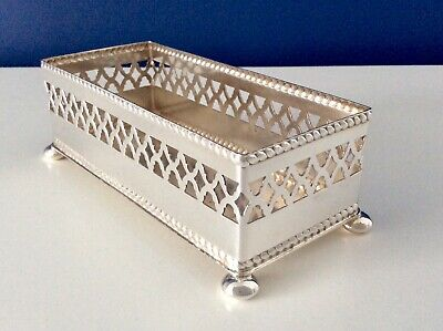 Superb Vintage English Silver Plated Footed Biscuit Tray By PLATO EPNS C1930