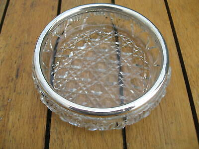 Antique Sterling Silver Rimmed Cut Glass Circular Dish 1906