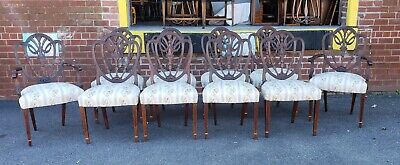 Set 10 Antique Mahogany Shield Back Hepplewhite Dining Room Chairs c1920s