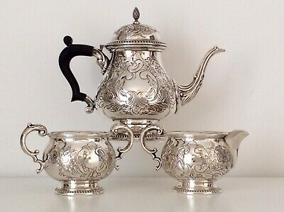 Superb BARKER ELLIS Antique Art Nouveau REPOUSSE Silver On Copper Tea Set C1910