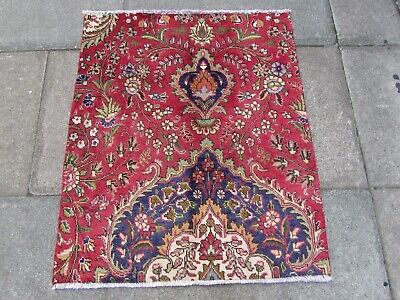 Vintage Fragment Traditional Hand Made Rug Oriental Wool Red Rug 105x88cm