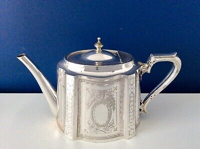 Large Antique Victorian Silver Plated 2.5 Pint Teapot By WALKER & HALL C1870