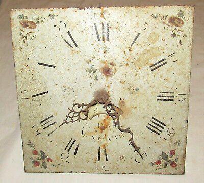 Antique grandfather clock movement + dial Thos Davie Monmouth. painted dial
