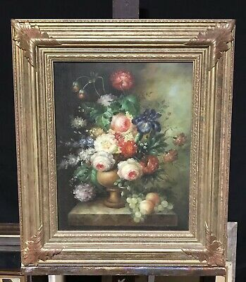 Large Classical Dutch School Still Life Floral Oil Painting Signed - Framed