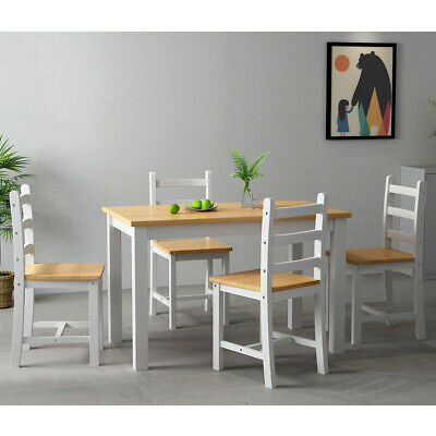 Solid Pine Solid Wood Dining Table with 4 Chairs Set  White Desk Kitchen