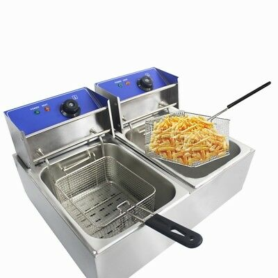 5000W 12L Commercial Electric Deep Fat Chip Fryer Dual Tank Unit Stainless Steel