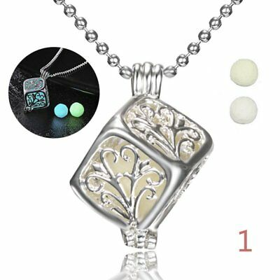 Glow In The Dark Time Hollow Flower Pendant Necklace Luminous Jewellery Unisex