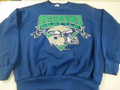 VTG 80s 90s Seattle Seahawks Helmet Crew Neck Sweatshirt shirt Tagged Logo 7 XL
