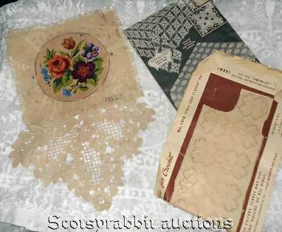ANTIQUE VINTAGE Intricate Petit Point OLD LACE & Booklet 4 LEAF CLOVER Join-it