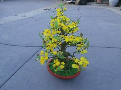 """plastic artificial yellow apricot flower tree with pot 49"""" tall (hoa mai)"""