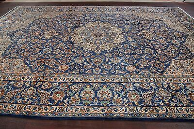 Vintage Traditional Floral ROYAL BLUE Hand-made Area Rug Oriental Carpet 10'x14'