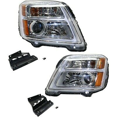 Headlight Set For 2016-2017 GMC Terrain Left and Right With Bulb 2Pc