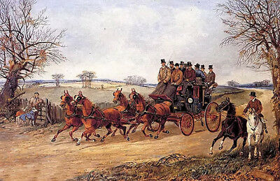 Dream-art Oil painting henry alken - a coach and four on an autumn road horses