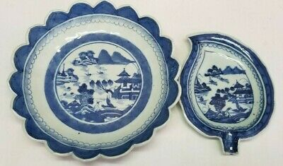 Antique Chinese Export Canton Blue & White Porcelain Scalloped Plate & Leaf Dish