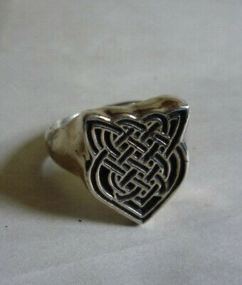 VTG Sterling Silver Ring Celtic Knot Royal Shield Size 11 Signed RJM Marked 925